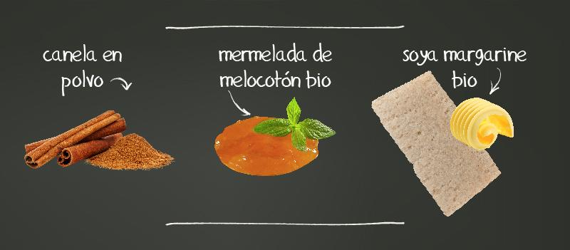 Tostadas ligeras con canela en polvo, mermelada de melocotón bio, soya margarine bio