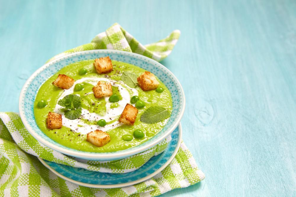 Crema de soja verde y menta