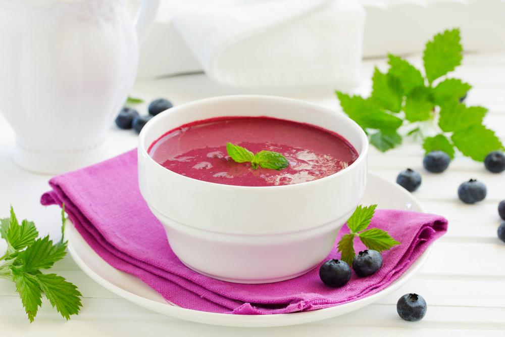 Crema de remolacha, puerros y yogur vegano