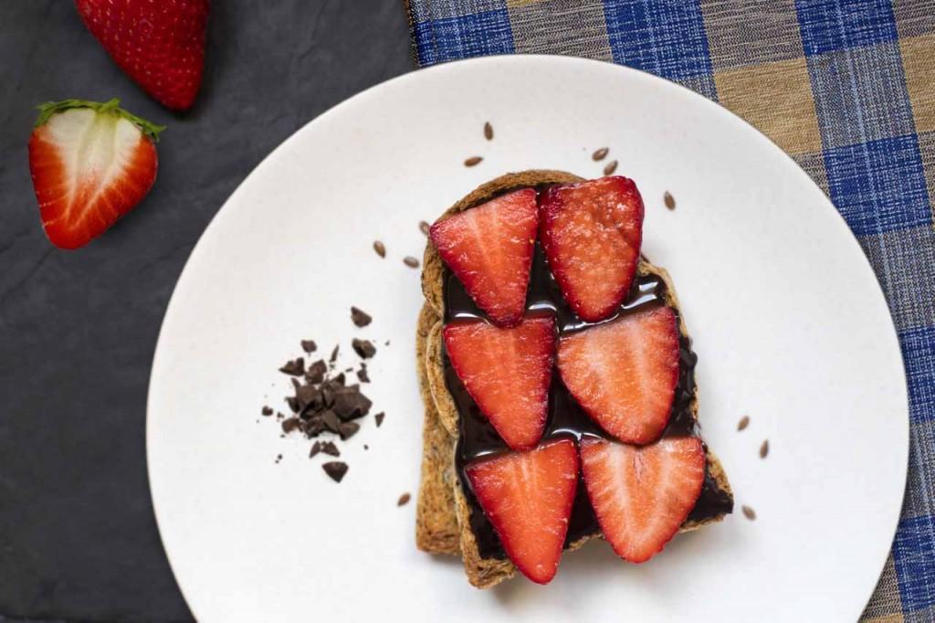 Pan Dextrin con cioccolato e fragole